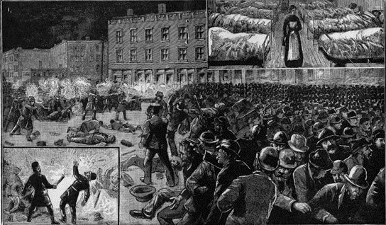 an overview of the haymarket square riot in chicago In 1886, laborers, supporters of eight hour work days, and leftist anarchist attended a meeting in chicago's haymarket square shots were fired and a bomb exploded when police moved toward the crowd, one policeman was killed.