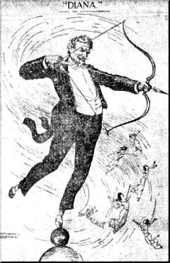 Cartoon showing stanford white asdiana atop msg tower firing arrows at