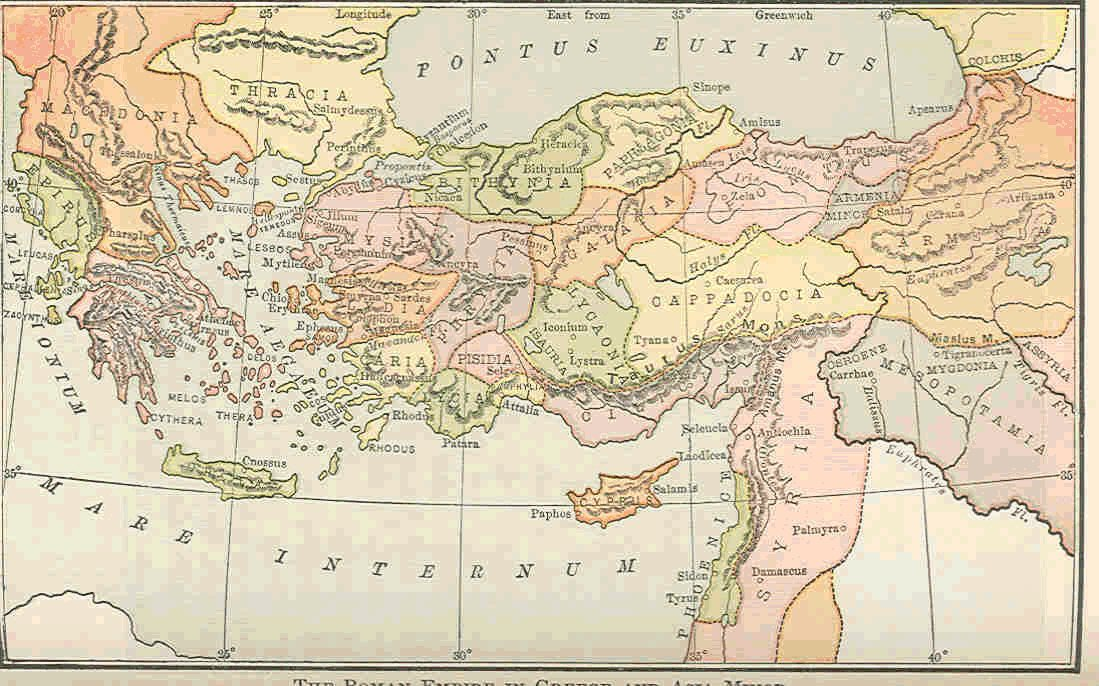 map of asia minor. in Greece and Asia Minor